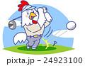 酉年年賀状素材ニワトリゴルフ 24923100