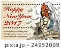 2017年賀状テンプレート「PrayingRooster」 英語添え書き ハガキ横 24952099