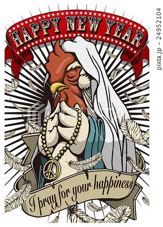 2017年賀状テンプレート「Praying Rooster」 添え書き無し ハガキ縦
