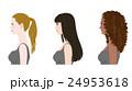 ヘアスタイル 女性 横顔のイラスト 24953618