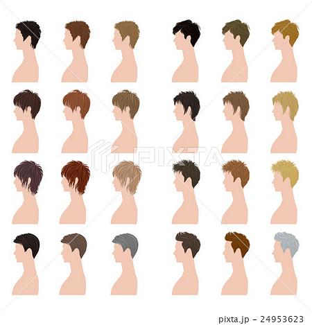ヘアスタイル / 男性 / バリエーションのイラスト素材 [24953623