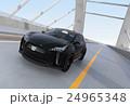 アーチ橋に走行するブラックの電気自動車SUV 24965348