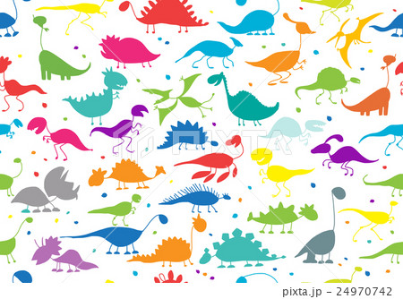 Funny dinosaurs, seamless pattern for your designのイラスト素材 [24970742] - PIXTA
