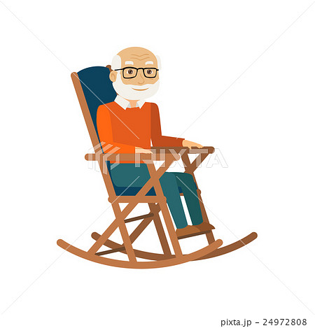 Old man sitting in rocking chair. Vector. 24972808