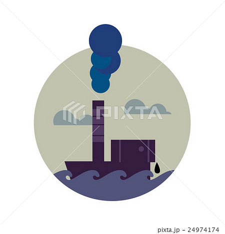 Air pollution banner. Factory with smoke stack 24974174