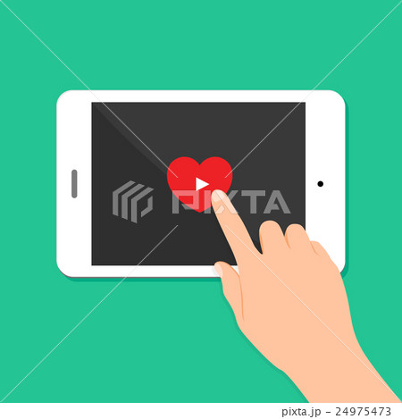 Hand touch screen with video player icon.のイラスト素材 [24975473] - PIXTA