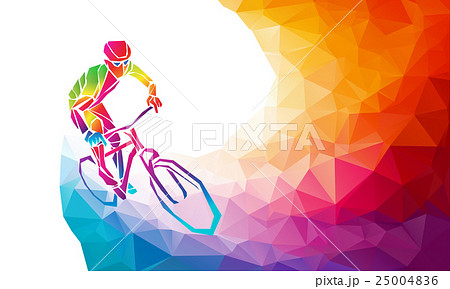 professional cyclist involved in a bike raceのイラスト素材 25004836