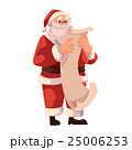 Santa Claus in glasses reading a long scroll of 25006253