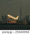 羽田空港を離陸する旅客機と東京スカイツリー 25040956