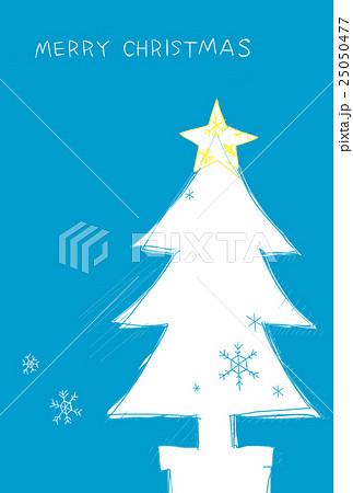 白いクリスマスツリー手書き風のイラスト素材 25050477 Pixta