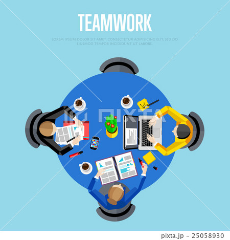 Teamwork concept. Top view workspace backgroundのイラスト素材 [25058930] - PIXTA
