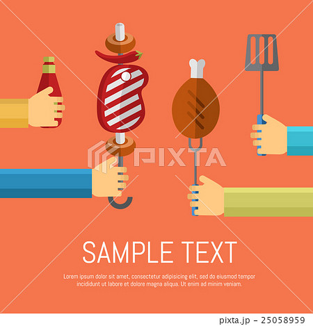 Barbecue grill poster, design template.のイラスト素材 [25058959] - PIXTA