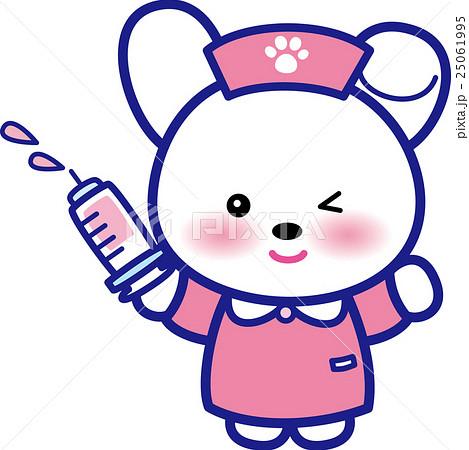 アニマルナース可愛い動物の看護師さん注射器ウサギさん足跡 25061995