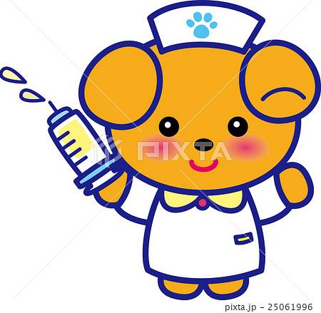 アニマルナース可愛い動物の看護師さん注射器イヌさん足跡 25061996