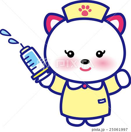 アニマルナース可愛い動物の看護師さん注射器ネコさん足跡 25061997