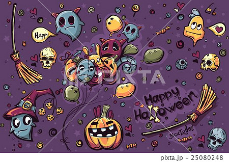 Colored background  hand-drawn Halloween doodlesのイラスト素材 [25080248] - PIXTA