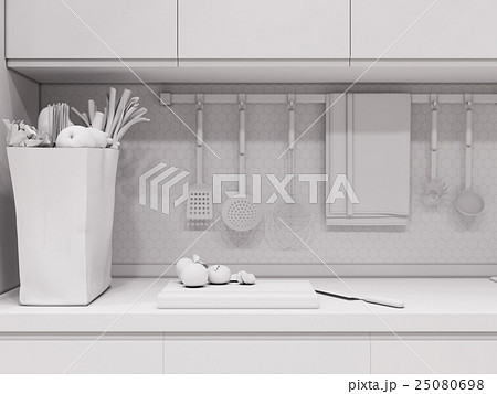 3d rendering design interior of modern kitchenのイラスト素材 [25080698] - PIXTA