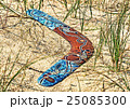 Color Boomerang on sand among a grass.Closeup. 25085300