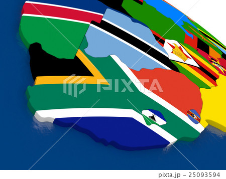 south africa on 3d map with flagsのイラスト素材 25093594 pixta