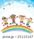 Kids jumping with joy on a hill under rainbow 25115147