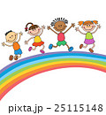 Kids jumping with joy on a hill under rainbow 25115148