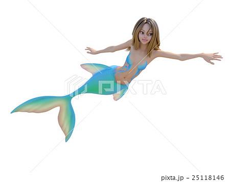 可愛いマーメイド(人魚)perming 3DCG イラスト素材 25118146