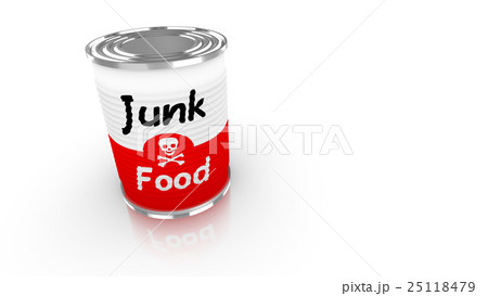 Tin can with red and white junk food labelのイラスト素材 [25118479] - PIXTA