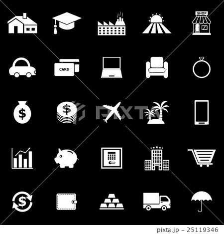 Loan icons on black background 25119346