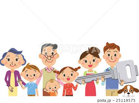 家の鍵を持つ三世代家族 25119575