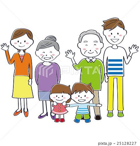 かわいい線画の3世代家族 笑顔のイラスト素材 25128227 Pixta