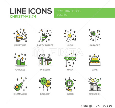 Christmas and New Year - line design icons set 25135339