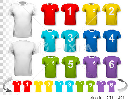 collection of various soccer jerseys with numbers のイラスト素材