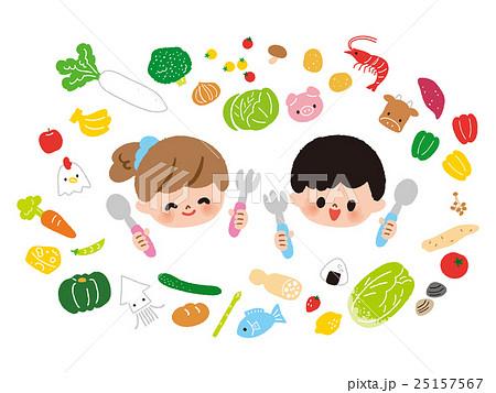いろいろな食べ物と子供 大 25157567