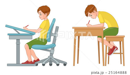 Incorrect and correct back sitting position 25164888