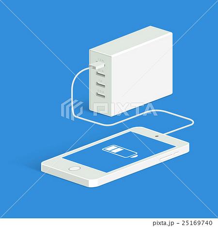Powerbank charging a white smartphone. Isometricのイラスト素材 [25169740] - PIXTA