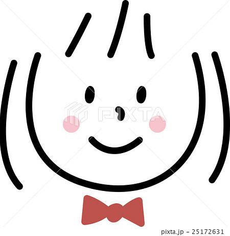 子供 笑顔 女の子 シンプルイラストのイラスト素材