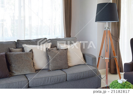 modern living room with sofa and wooden lampの写真素材 [25182817] - PIXTA