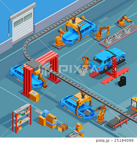 Conveyor Automotive Manufacturing System Isometric 25184099