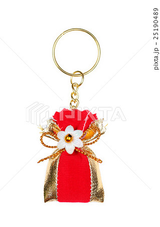 Red bag key ring isolated on whiteの写真素材 [25190489] - PIXTA