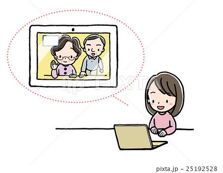テレビ電話_女の子_PC_祖父母 25192528