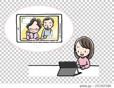 テレビ電話_女の子_タブレット_祖父母 25192580