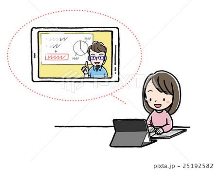 イーラーニング_女の子_タブレット_遠隔授業 25192582