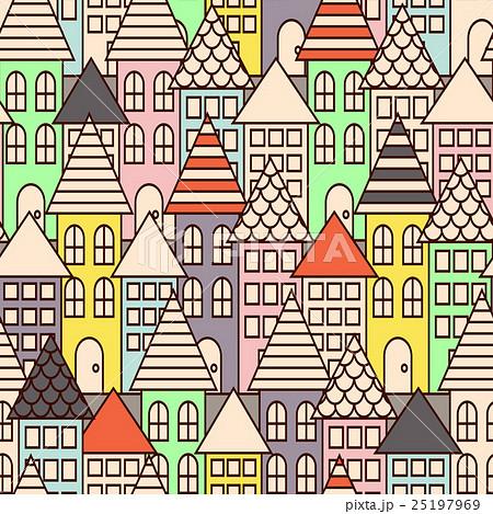 Outline city multicolor seamless pattern.のイラスト素材 [25197969] - PIXTA
