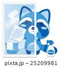 アライグマ 窓拭き 磨くのイラスト 25209981