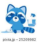 アライグマ 床磨き 雑巾掛けのイラスト 25209982