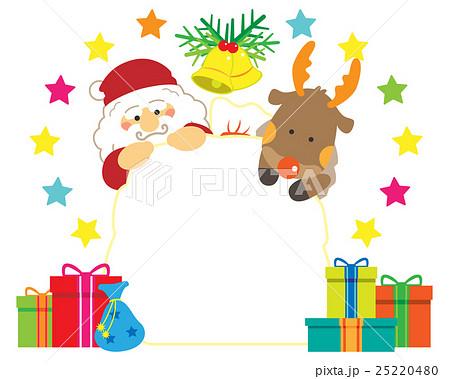 サンタとトナカイと袋いっぱいのプレゼントのイラスト素材