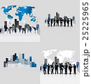 Business people silhouettes with building background. Vector illustration. 25225965
