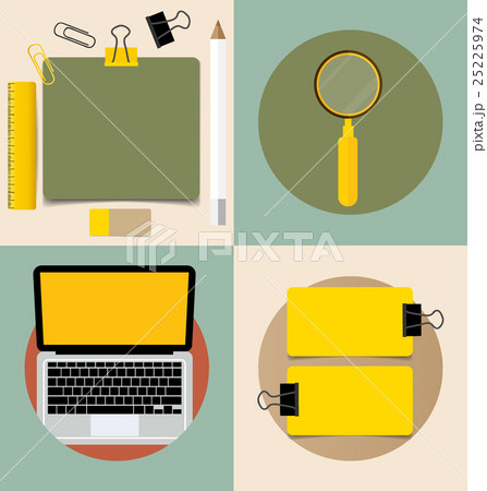 Laptop and Cute note papers, ready for your message. Vector illustration.のイラスト素材 [25225974] - PIXTA
