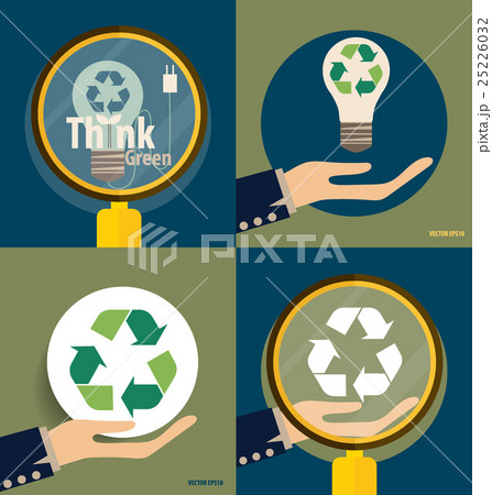 Hand holding Recycle symbol. Vector symbol on the packaging, vector Illustration.のイラスト素材 [25226032] - PIXTA