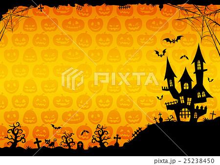 ハロウィン:城のそびえる背景(オレンジ)横 2 25238450
